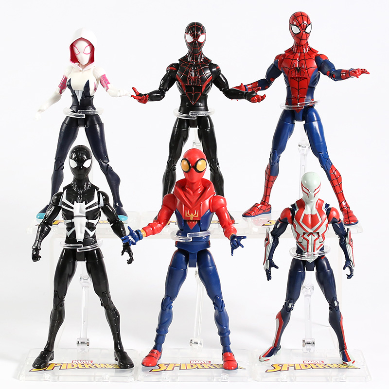 Marvel Spider-Man Miles Morales Gwen Stacy Peter Parker Black Spiderman 2099 PVC Action Figure Collectible Model Toy