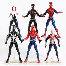 Spider Man Miles Morales Gwen Stacy Peter ParkerสีดำSpiderman 2099 PVC Action Figureของเล่นสะสม