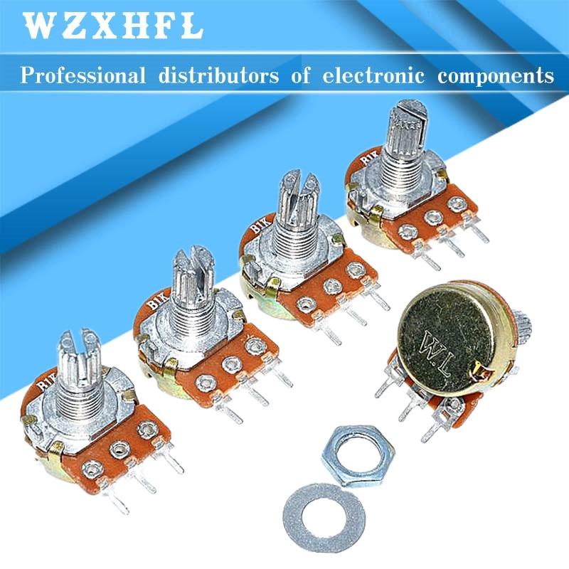 5 шт., усилитель WH148, B1K, B2K, B5K, B10K, B20K, B50K, B100K, B500K, 3 контакта, 15 мм, двойной стерео потенциометр 1K, 2K, 5K, 10K, 50K, 100K, 500K