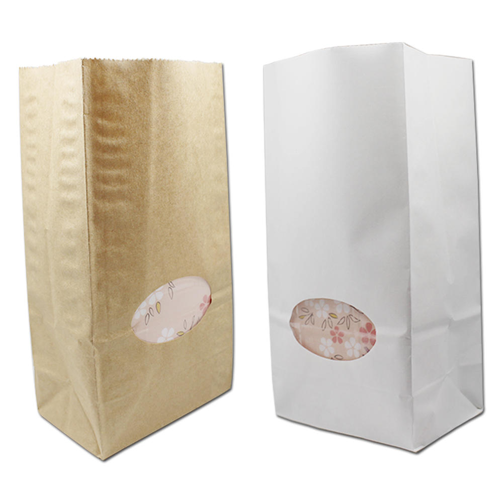 500Pcs 2 Size Wholesale Brown White Kraft Paper Gift Bags With Clear Window Food Bread Candy Cookies Packaging For Wedding Party
