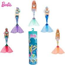 Barbie cor revelar boneca sereias temáticos boneca temperatura detecção descoloração 7 tipos surpresas caixa cega brinquedo criança presente gtp43