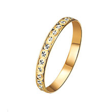 Hot Glitzy Starry Diamond Carve 18k Pure Real Solid Gold AU750 Rings Women Girl Lady Rose Fine Fancy Upscale Bands Party Gift(China)
