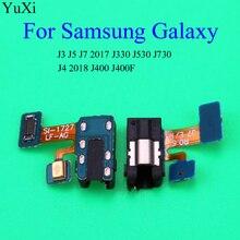 цена на Earphone Jack Headphone Audio Microphone Flex Cable For Samsung Galaxy J3 J4 2018 j400 j400f Audio jack Flex Replacement Parts