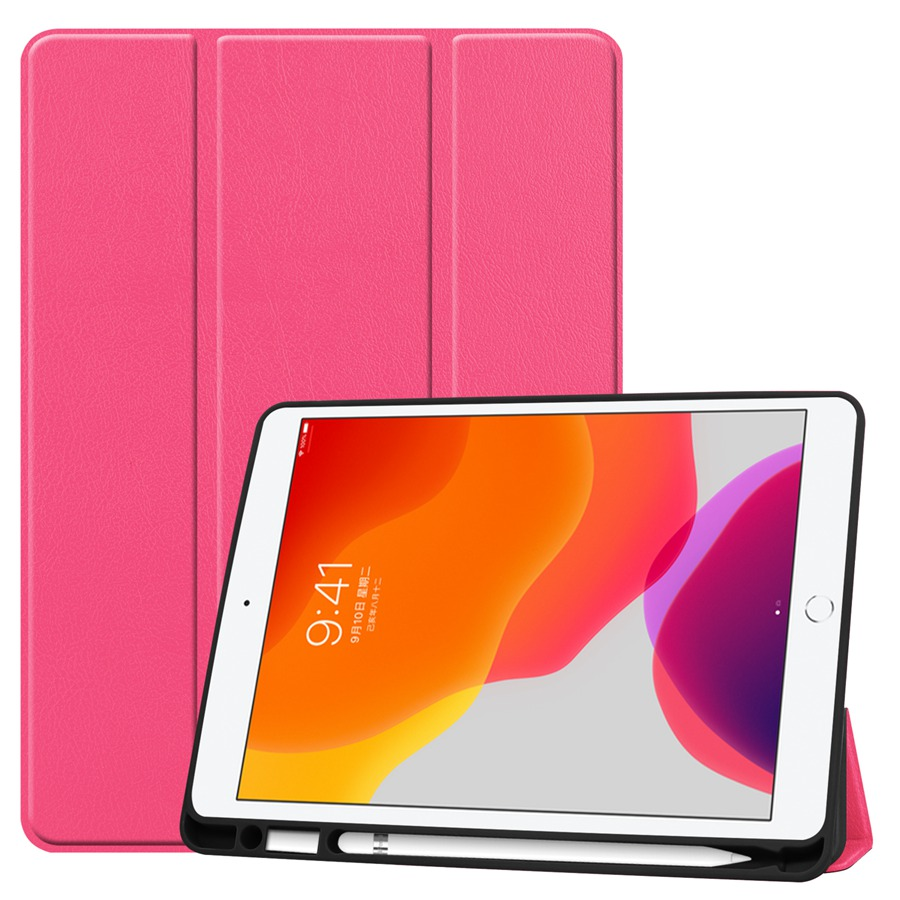 rose Yellow Slim Smart PU Leather Case For Apple iPad 10 2 2019 with Pencil Holder Cover For