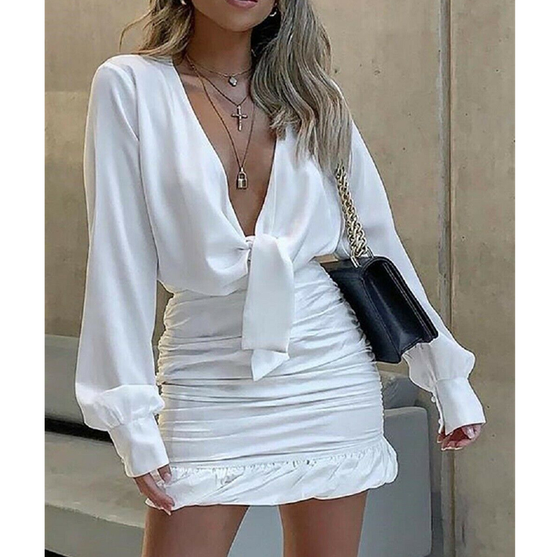 Sexy Women Ladies Deep V Neck Lapel Dress Plunge Ruched Ruffles Cuff Mini Dress Casual Solid Office Party Outwear Streetwear