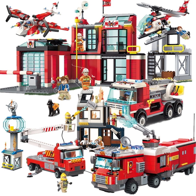 HOT NEW City Police Firefighter Rescue Fire Station Truck Aircraft Ladder Car Building Blocks Sets Kids Toys Legoinglys