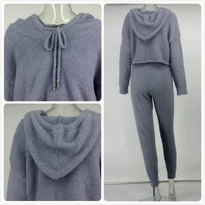 Image 5 - PFFLOOK 2019 Autumun נשים 2 חתיכה סט חורף תלבושות אלגנטי מוצק סוודר סטים תואמים Streetwear מזדמן צמר שתי חתיכה להגדיר