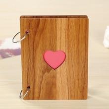 1psc brown photo album scrapbook Wooden Wedding Manual Loose-leaf Pasted Baby Lovers diy photo album Spiral Binding