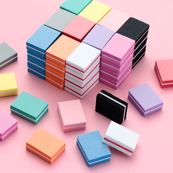 10pcs lot Double-sided Mini Nail File Blocks Colorful Sponge Nail Polish Sanding Buffer Strips Polishing Manicure Tools Nail Fil image