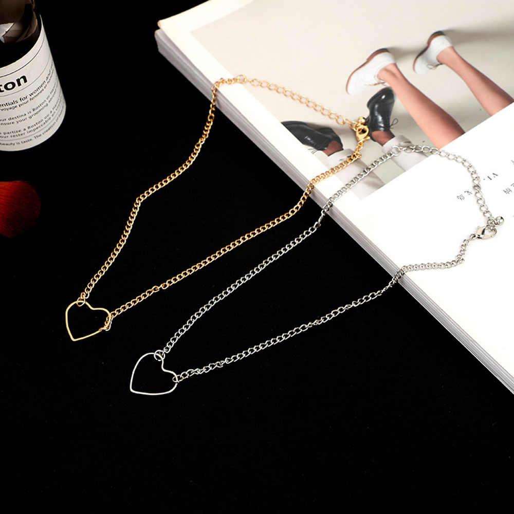 女性のための中空ハートチョーカーネックレス鎖骨チェーンステートメントネックレス Collares ハート珍味ペンダントネックレスギフト