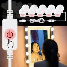 5V USB LED Light Strip Dressing Table Lamp Led Makeup Vanity Mirror 10 Bulb Kit EU US Plug Make up Cosmetic Mirror Lights 220V недорого