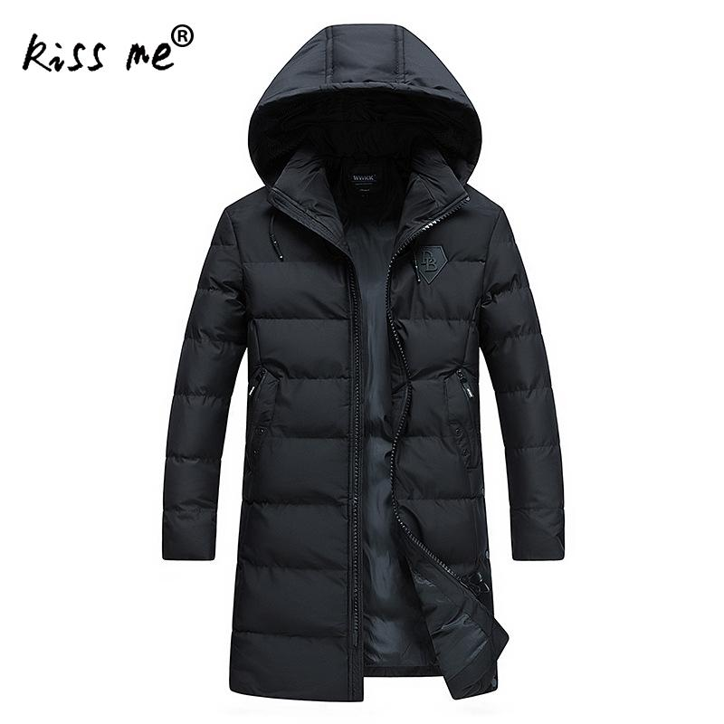 Solid Black Cotton Clothing Outdoor Down Coat Camping Hiking Down Jacket Men Hooded Thermal Warm Coat Windproof Mid-Long Jacket