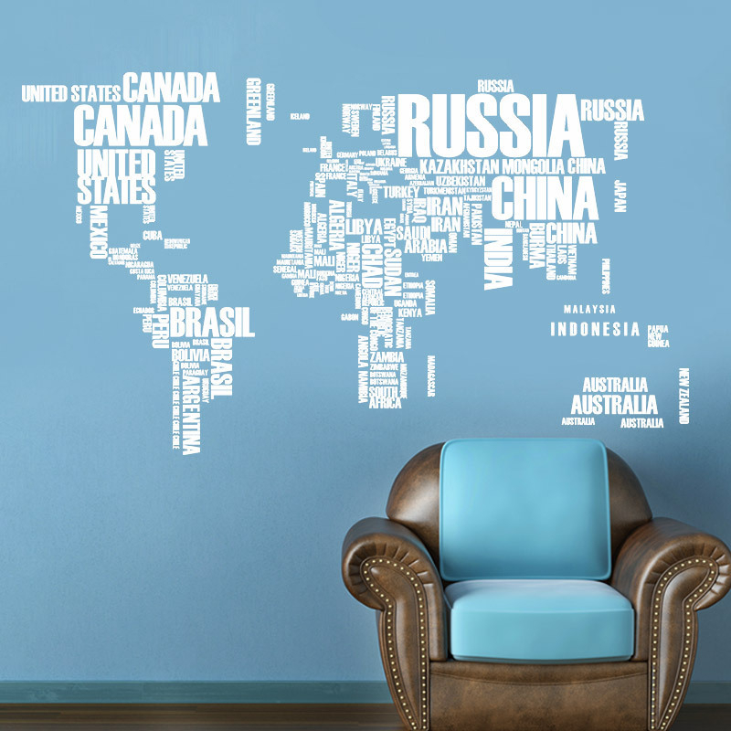 White Removable Letters Wall Stickers World Travel Map PVC Decal Mural Living Room Home Decoration Creative DIY Wall Stickers