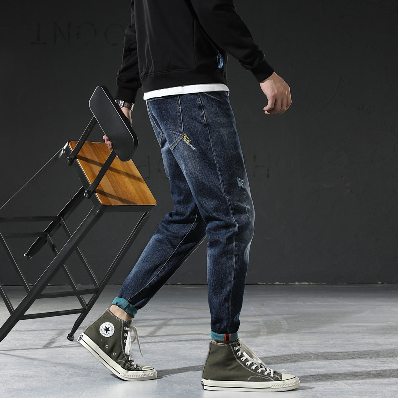 Autumn & Winter New Style Chubby BOY'S Jeans Men With Holes Korean-style Trend Youth Versatile Radish Skinny Pants