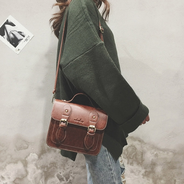 Fashion Satchels Bag Female 2019 New British Style Retro Messenger Bag Vintage Leather Women Shoulder Bags Sac