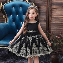 Christmas Halloween Girls Black Princess Dress Teenager Fluffy Wedding Childrens Clothing New Fashion Costume
