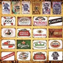 [Luckyaboy]  Alcohol Drink Beer Retro Poster Wall Sticker Home Bar home Pub Decor Man Cave Vintage Metal Tin Sign AL033
