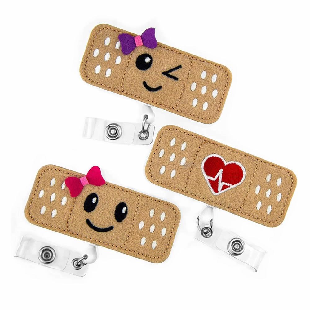 Retractable Badge Holder Cute Felt Badge Reels With Alligator Clip Nurse Accessories For Volunteer Students Teachers