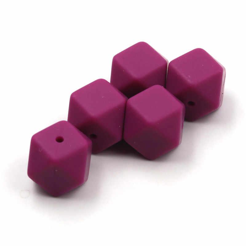 JOJOCHEW Lục Giác Viền Silicone Rau Dền Đỏ Cổ Viền Silicone 17mm Bé Miếng Dán Thực Phẩm Jelweling làm 50 chiếc