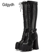 Women Shoes Platform-Boots Heel Street-Style Gdgydh Gothic High-Chunky Genuine-Leather