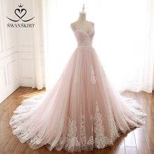 Romantic Pink A Line Wedding Dresses 2020 Swanskirt Spaghetti Straps Appliques Beaded Train Bridal Gown Vestido de novia A272