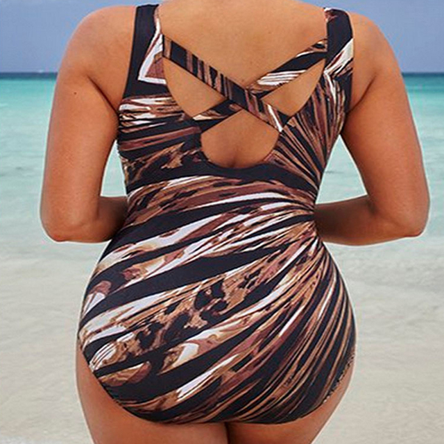 2019 New Striped Print Plus Size Swimwear Women One Piece Swimsuit Large Size Bathing Suits Beach Wear Swimming Suit For Women 5