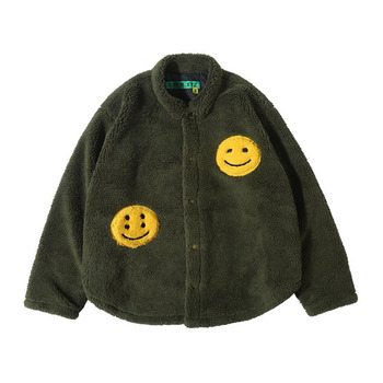1:1 Top Version Kanye West CPFM.XYZ  Smile Face Flocking Jackets Men Women Turn-Down Collar Coats Oversized Men Warm Jackets