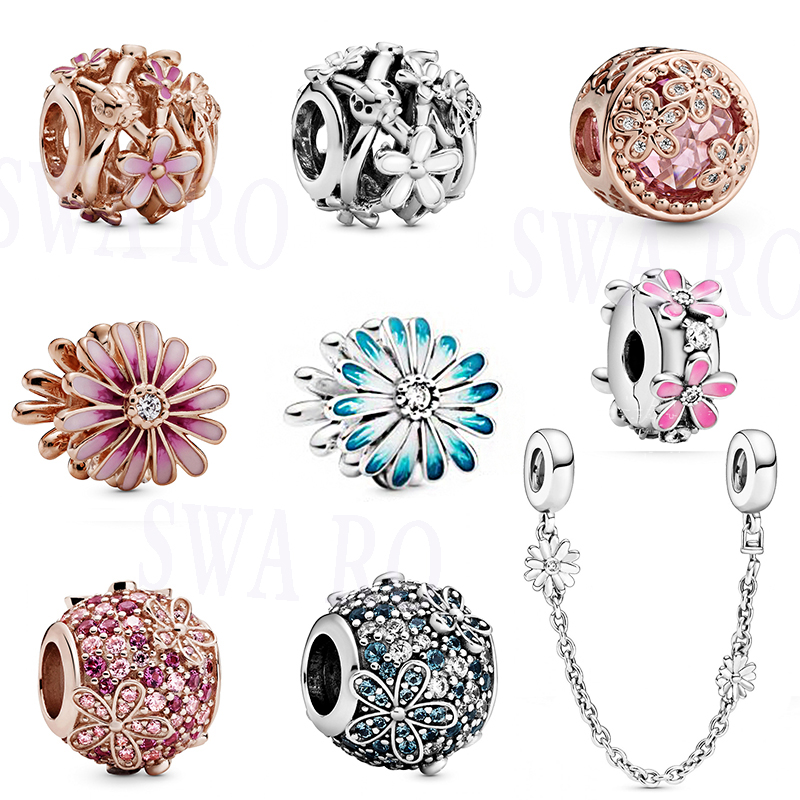 2020 Fashion New High Quality Silver 1: 1 White, Pink Daisy Flowers Bouquet Series Charm DIY Jewelry Original Woman Classic Gift