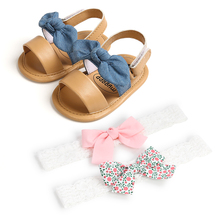 2021 Baby Girls Bow Knot Sandals with 2 Pcs Hairband Cute Summer Soft Sole Flat Princess Shoes Infant Non-Slip First Walkers