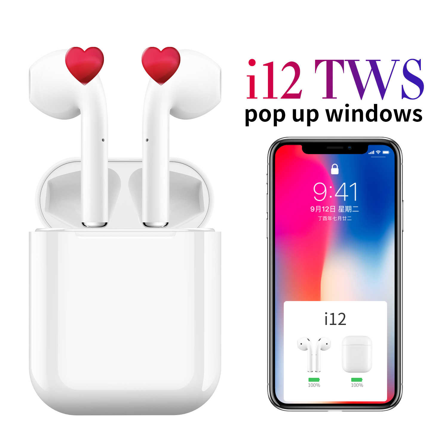 I12 Tws 2019 Asli Matte Bluetooth Earphone Ear Headphone Bluetooth 5.0 Sentuh Pop Up Headset Nirkabel Sport untuk Ponsel Pintar