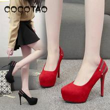 Ms High-heeled Shoes Waterproof Taiwan Sexy Wedding Red Round Head Thin Girl With Web Celebrity New Suede 35