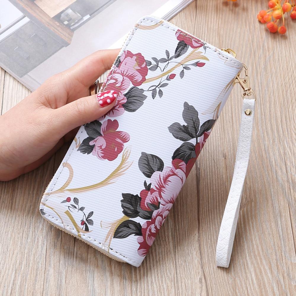 Fashion 2019 Women's Rose Print Stone Road Wallet Fashion Wild Double Zipper Clutch Bag Multi-card Wallet Purse