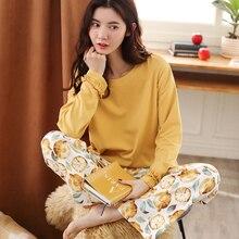 여성 잠옷 세트 코튼 옐로우 탑 + 프린트 롱 바지 2 피스 세트 여성용 패션 컴포트 잠옷 pijama mujer