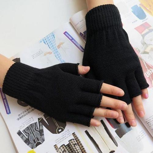 1 Pair Men Women Fingerless Winter Warmer Mittens Black Stretch Knitted Gloves