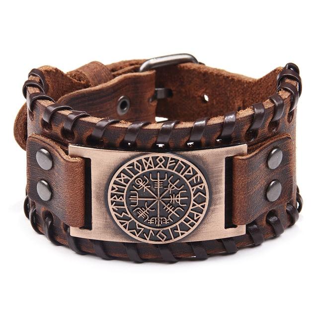 Широкий кожаный браслет для мужчин в стиле викингов  Длина: 27,5 см Ширина: 4 см -