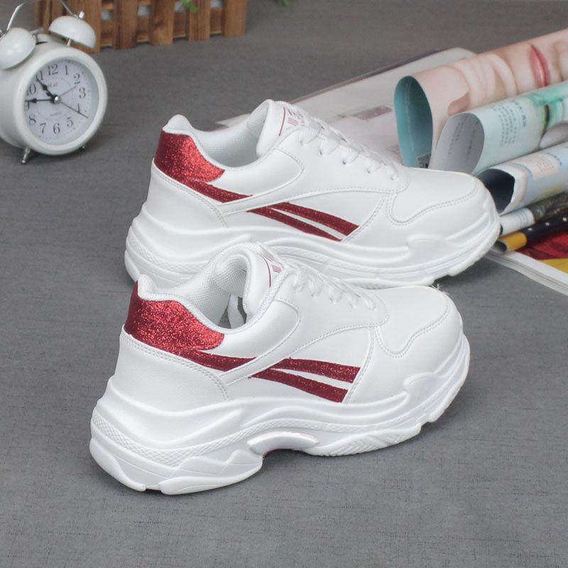 Tleni 2019 New White Platform Sneaker Ladies Thick Bottom Shoes Woman Quality Footwear Women's Sports Shoes ZD-23