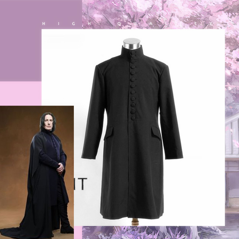 Professor Severus Snape Cosplay Costume Deathly Hallows Hogwarts School Cloak Shirts Adults Black Robe Halloween Party Uniforms