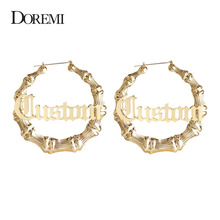 7cm Hiphop Sexy Bamboo Hoop Earrings Customizable Customize Name Style Custom With Statement Words