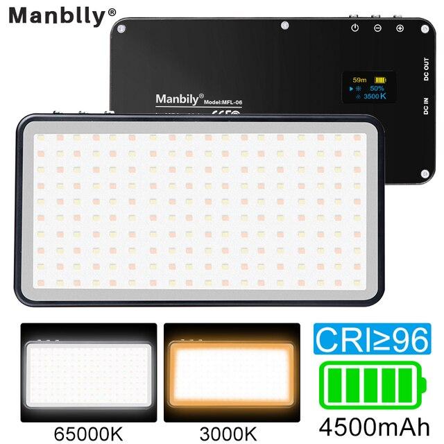 Manbily MFL 06 led luz de vídeo recarregável 4500mah pode ser escurecido 3000k 6500k luz de preenchimento para câmera slr fotografia smartphone iphone