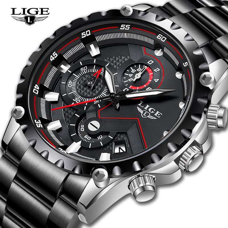LIGE Quartz Watches Army Waterproof Top-Brand Men Sport All-Steel Luxury Mens Masculino title=