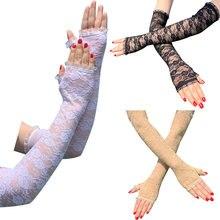 1 para gorąca sprzedaż siatki kabaretki długie rękawiczki moda kobiety Lady dziewczyna rękawiczki ochrony koronki elegancki styl damy rękawiczki czarno-białe