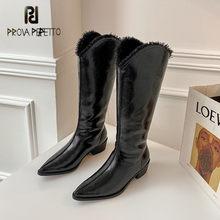 Prova perfetto inverno patente de couro joelho botas altas mulheres clássicos salto quadrado apontou toe botas zíper lateral botas femininas