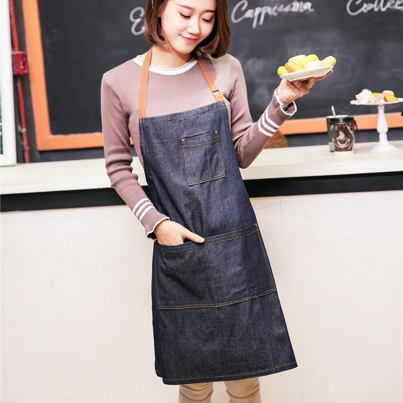 Aprons Cowboy Simple Antifouling Uniform Unisex Denim Aprons for Women Men's Kitchen Chef Cooking Aprons Home & Garden - title=