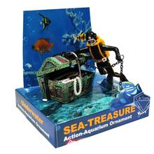 Diver Hunter Treasure Chest Underwater Landscape Ornament Cartoon Fish Tank Aquarium Landscaping Ornament Decoration(China)