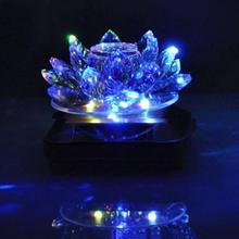 Solar Car Perfume Seat Synthetic Crystal Lotus Rotation Decoration Car