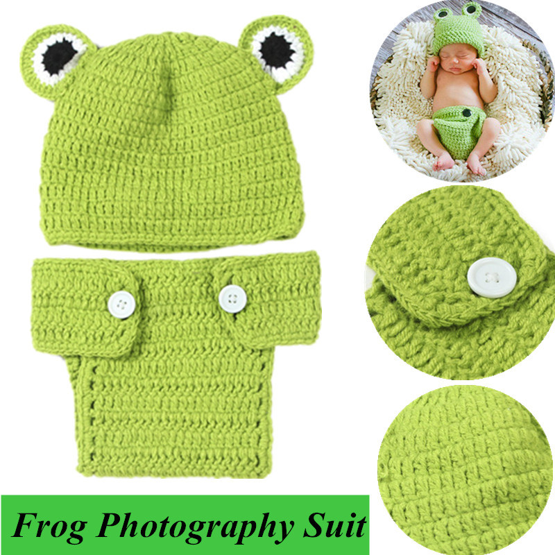 Photography Photo Prop Hat Cap Set Outfit Newborn Baby Crochet Knit Costume