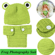 1/2Pcs Baby Hand-Knitted Cute Frog Clothing Set Newborn Baby Crochet Knit Hat Girl Boy Cap Newborn Photography Props Costume