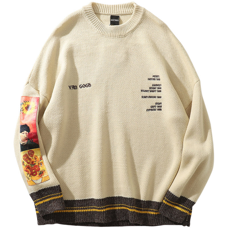 Men Sweater 100% Cotton Hip Hop Pullover Streetwear Van Gogh Painting Embroidery Knitted Sweater Retro Vintage Autumn Sweaters
