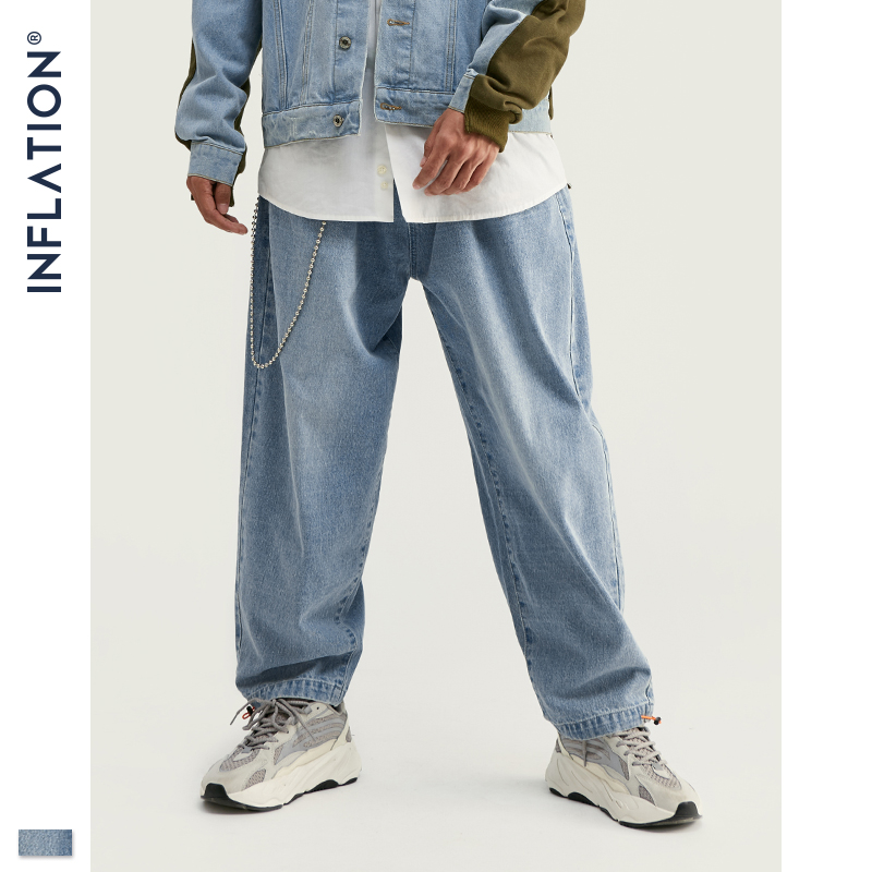 INFLATION Designed Fashion Mens Baggy Jeans In Blue Men Loose Fit Straight Baggy Jeans Streetwear Mens 2019 AW Baggy Jeans 93386