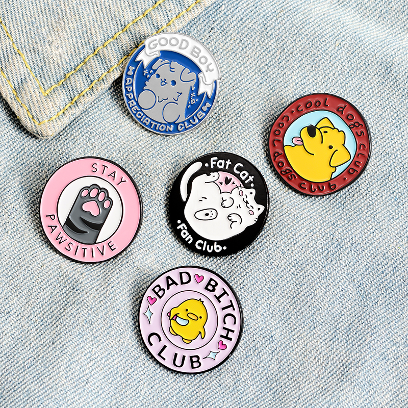 Adorable Family Members Enamel Pins Paw Dog Cat Chicken Pet Animal Jewelry Round Custom Brooches Lapel Pin For Friends Gift 6
